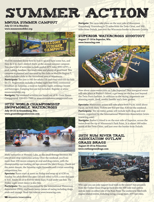 Minnesota Snowmobiling Summer 2013 Page 16
